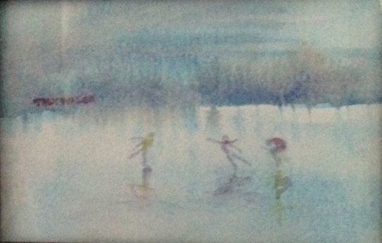 Ice skating - watercolor