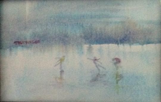 Ice skating - watercolor