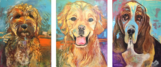 Golden Doodle, Golden Lab, Basset Hound - three huge paintings commissioned for a living room